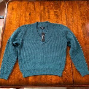 Lulu's teal knit sweater NWT